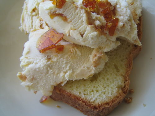 Sass & Veracity: Brown Butter Ice Cream with Salted Almond Brittle and Pound Cake