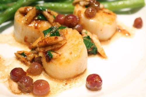 Seared Scallops with Almonds and Champagne Grapes