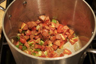 The aroma of andouille and the veggies is amazing...