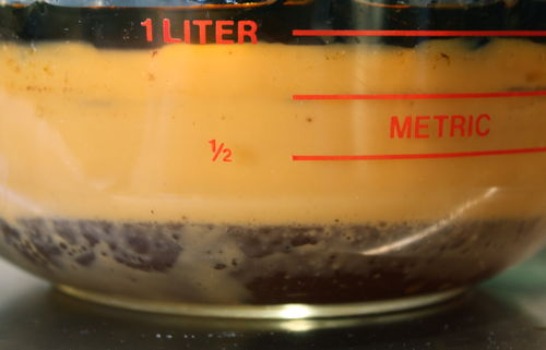Quantity of fat skimmed from the simmering bones.